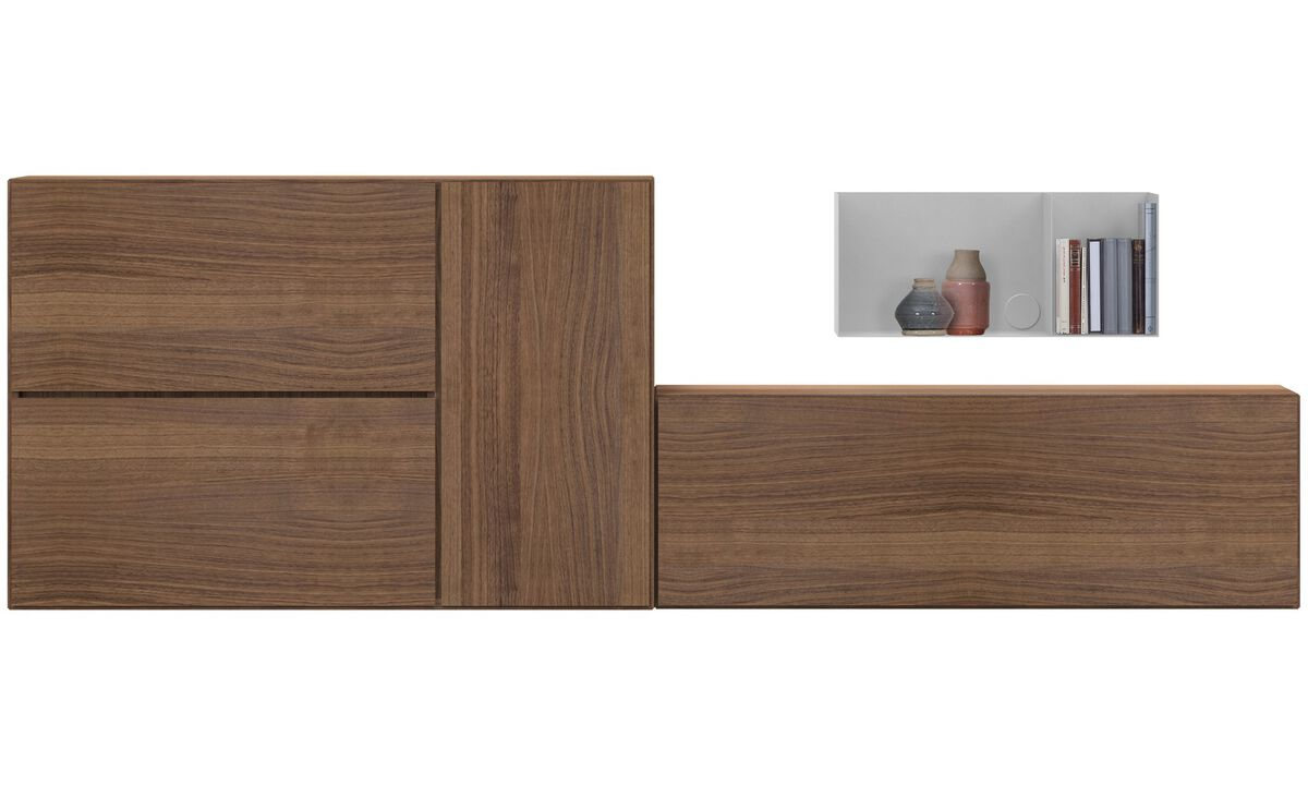 Wall systems - Lugano wall mounted wall system - Brown - Walnut