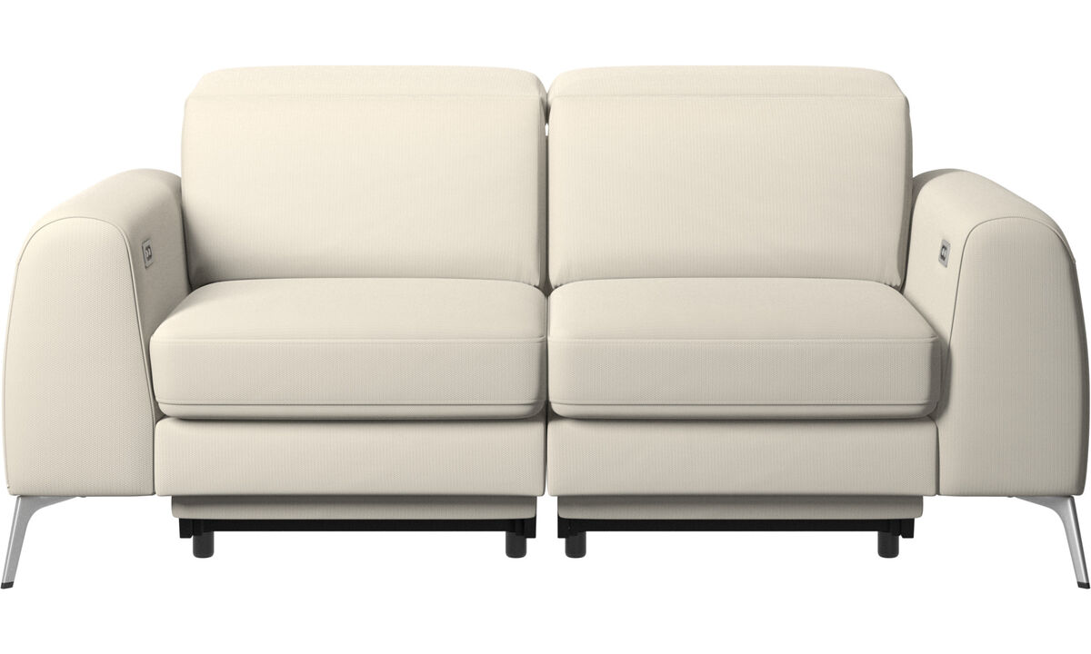 New designs - Madison sofa with electric seat, head and foot rest motion (transformer and cable plug-in included) - White - Fabric