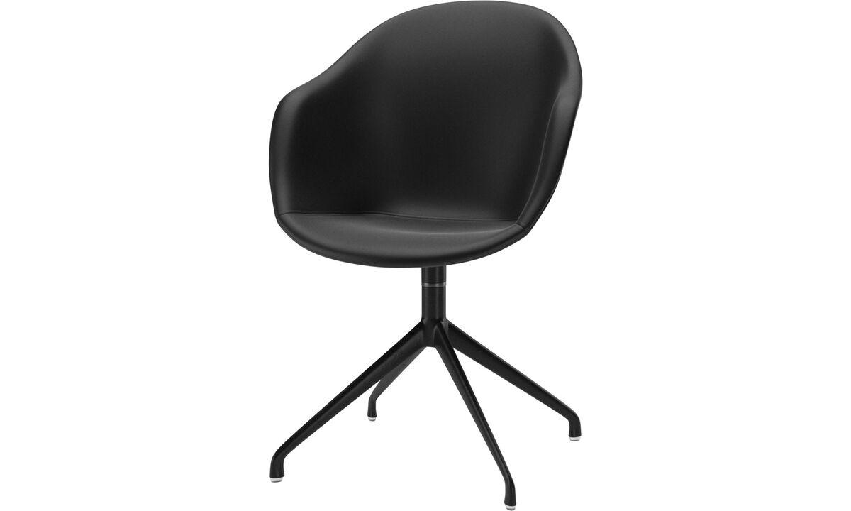 Sillas de comedor - silla Adelaide con función giratoria - En negro - Piel
