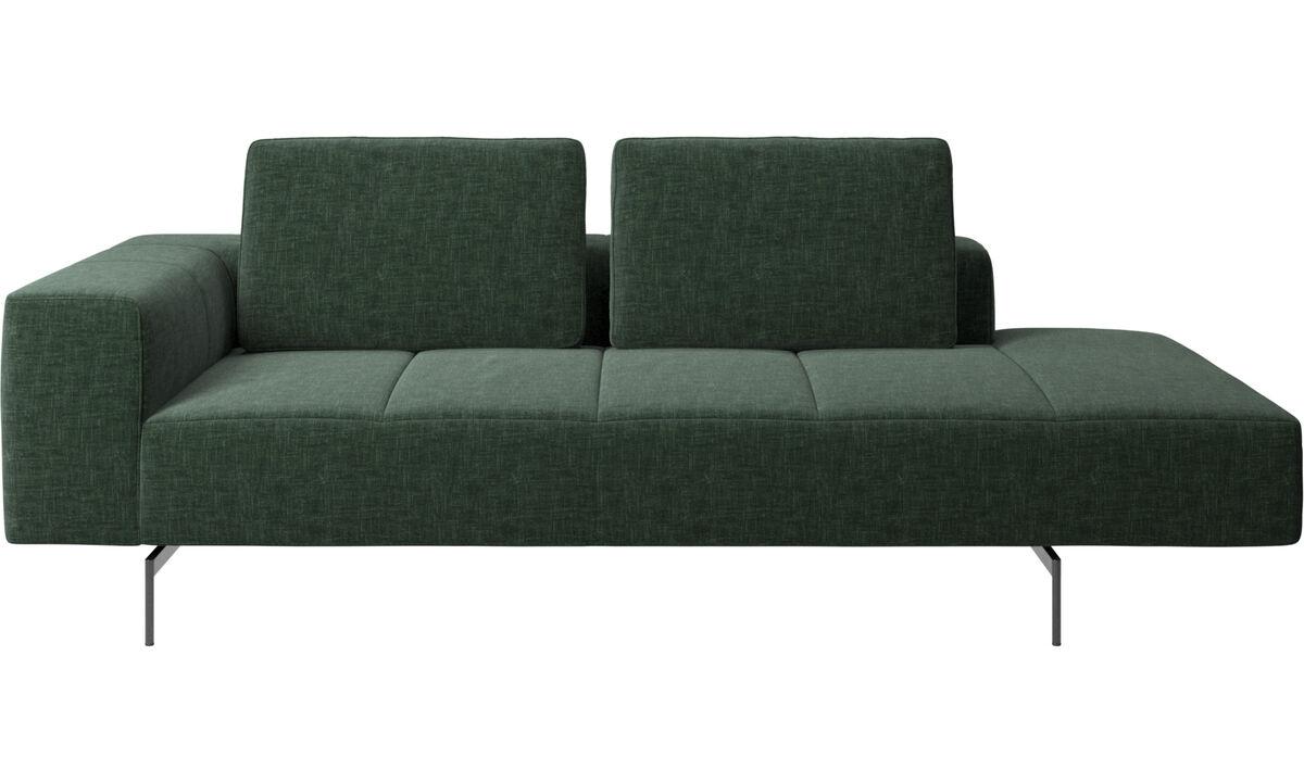 Canapés avec chaise longue - Module de repos Amsterdam, accoudoir à gauche, chaise longue à droite - Vert - Tissu