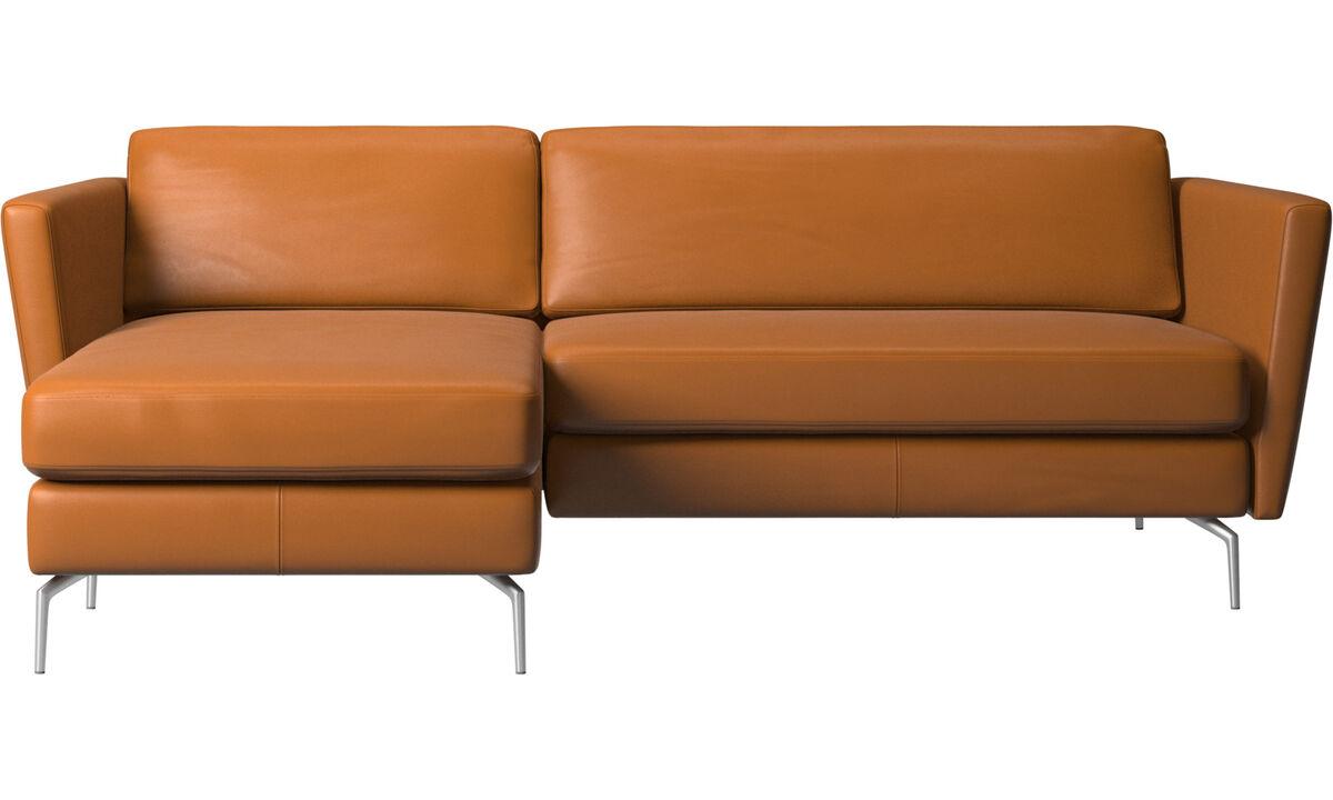 Sofas mit Récamiere - Osaka Sofa mit Ruhemodul, klassische Sitzfläche - Braun - Leder