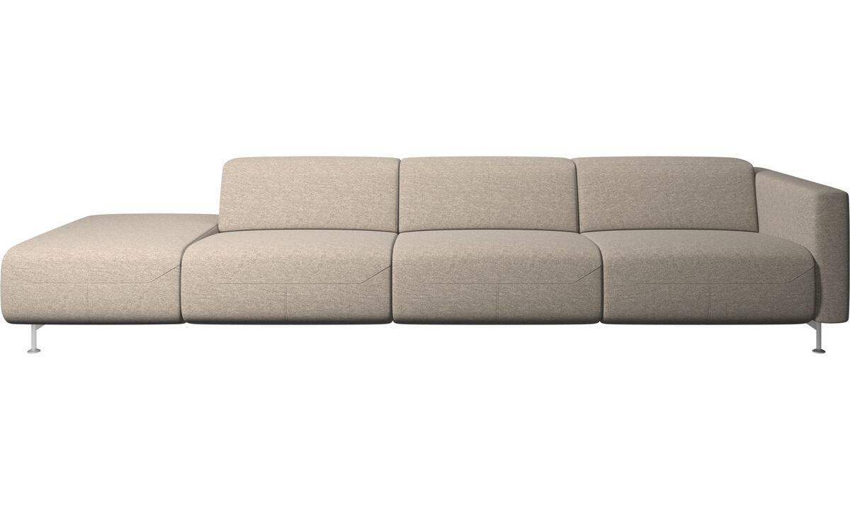 Sofás reclináveis - Sofá reclinável Parma com extremidade aberta - Bege - Tecido