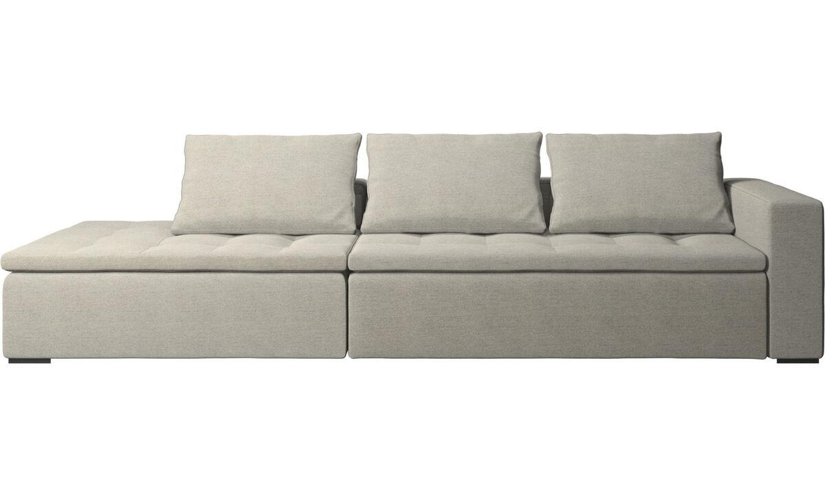 Sofás con lado abierto - sofá Mezzo con módulo de descanso - En beige - Tela