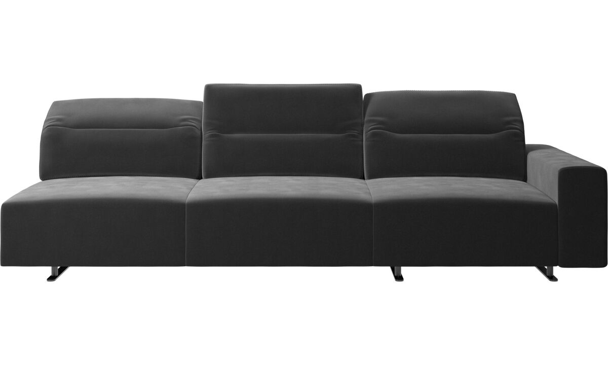 3 seater sofas - Hampton sofa with adjustable back and storage on the right side - Black - Fabric