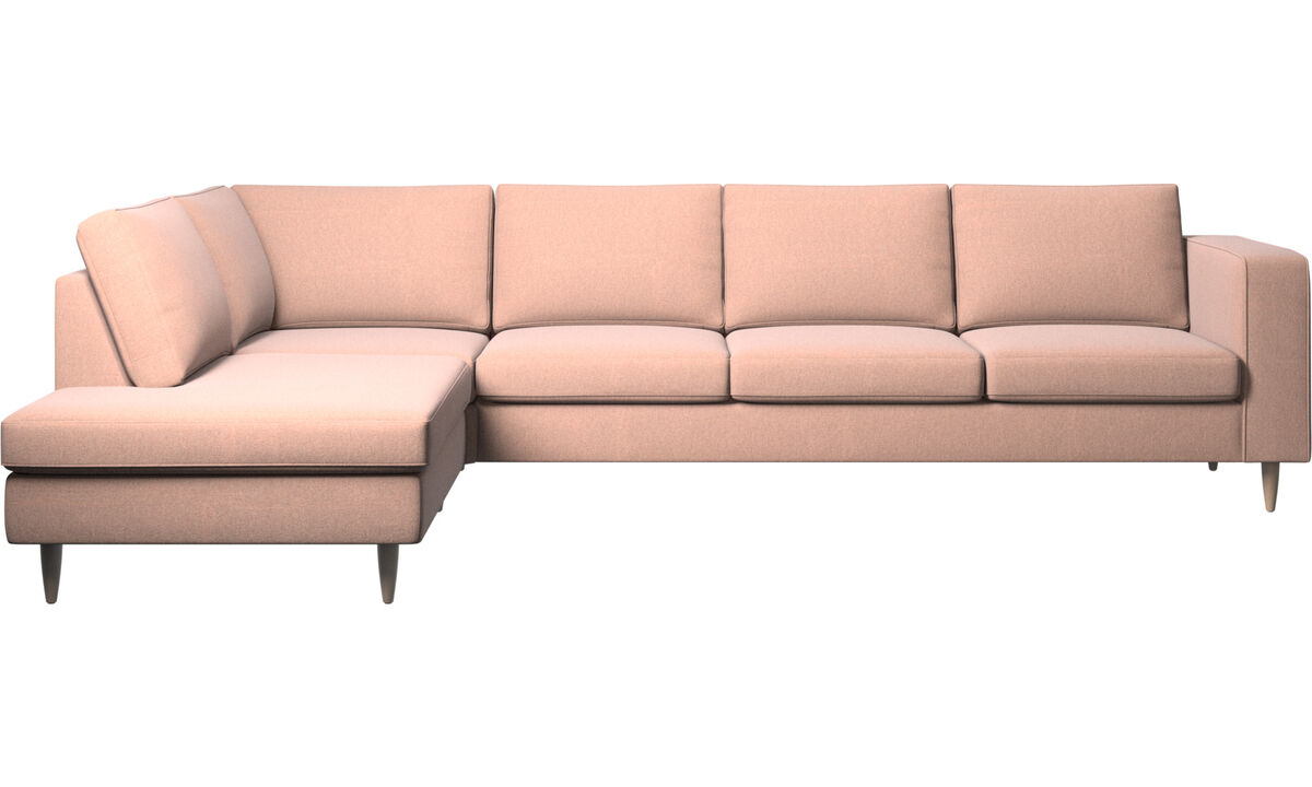 Sofas with open end - Indivi 2 corner sofa with lounging unit - Red - Fabric