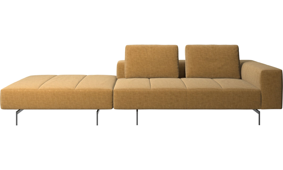 3 seater sofas - Amsterdam sofa with pouf on right side - Beige - Fabric