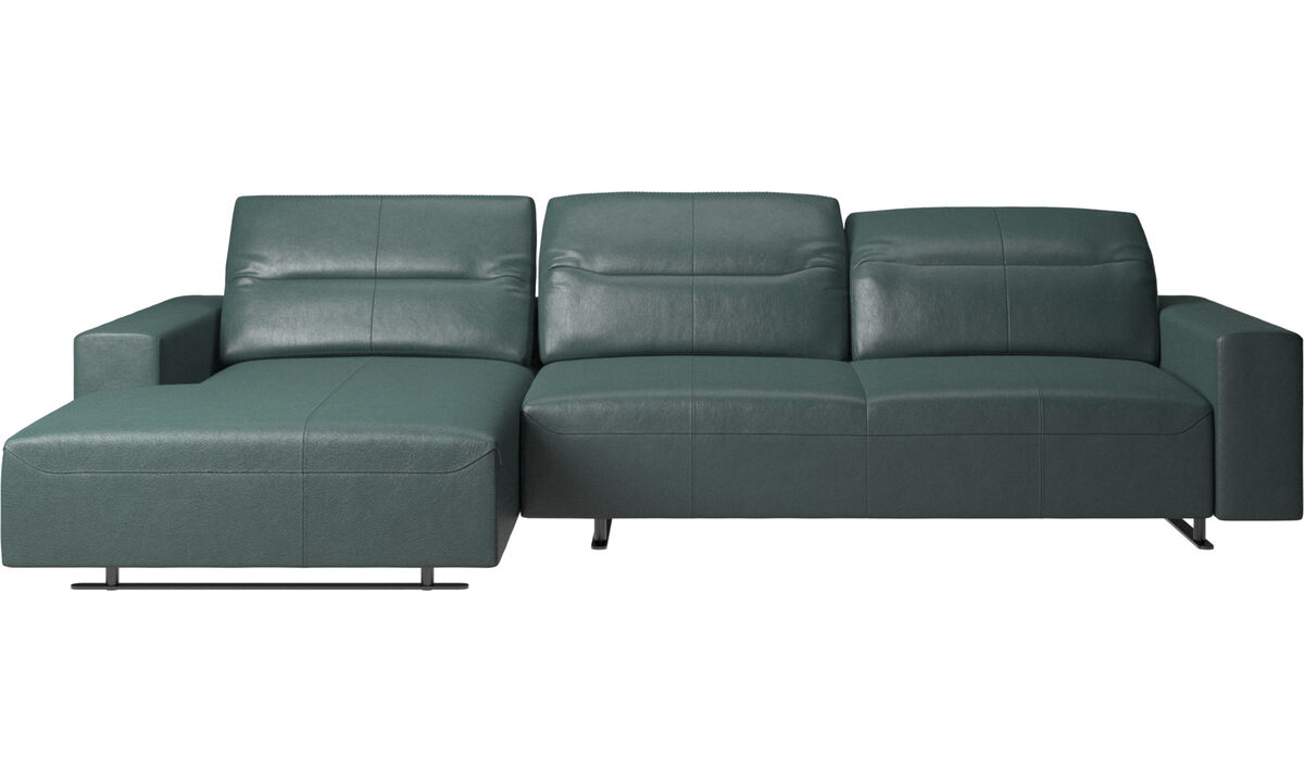 Chaise lounge sofas - Hampton sofa with adjustable back, resting unit and storage left side - Green - Fabric