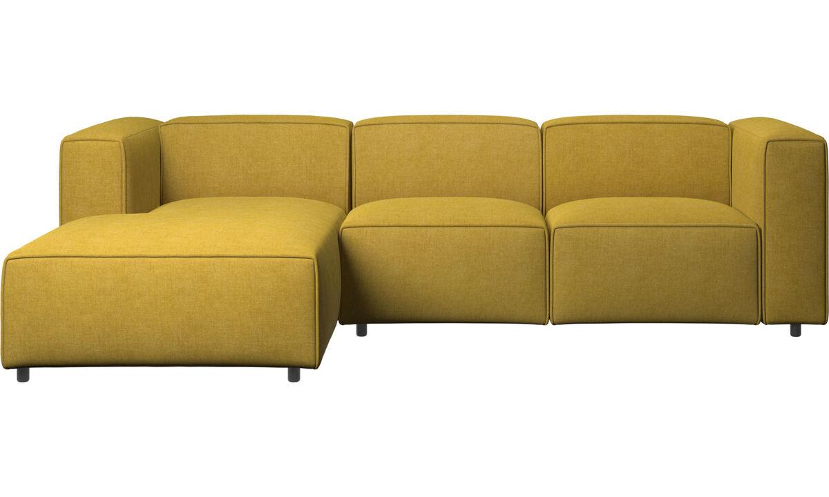 Sofás con chaise longue - Sofá Carmo con movimiento y módulo de descanso - En amarillo - Tela