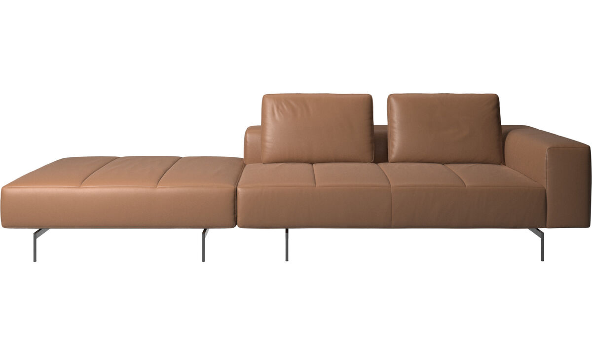 3 seater sofas - Amsterdam sofa with footstool on left side - Brown - Leather