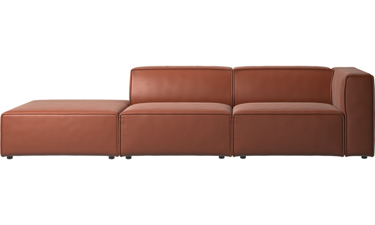 Sofas with open end - Carmo sofa with lounging unit - Brown - Leather