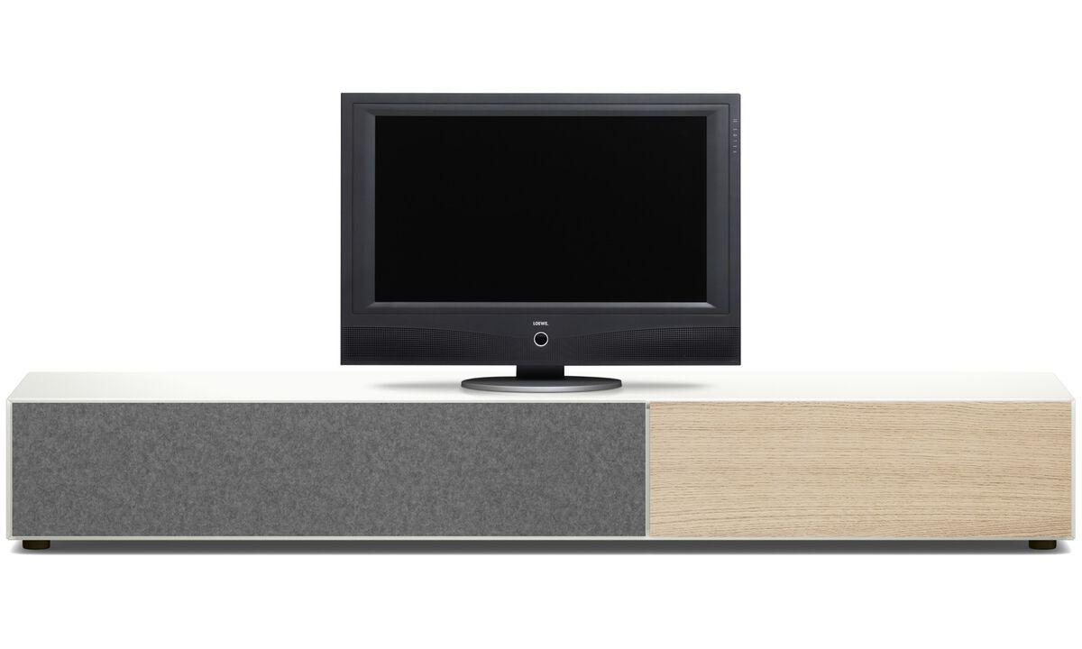 Meubles TV - Meuble Lugano avec tiroir et porte abattante - Chêne