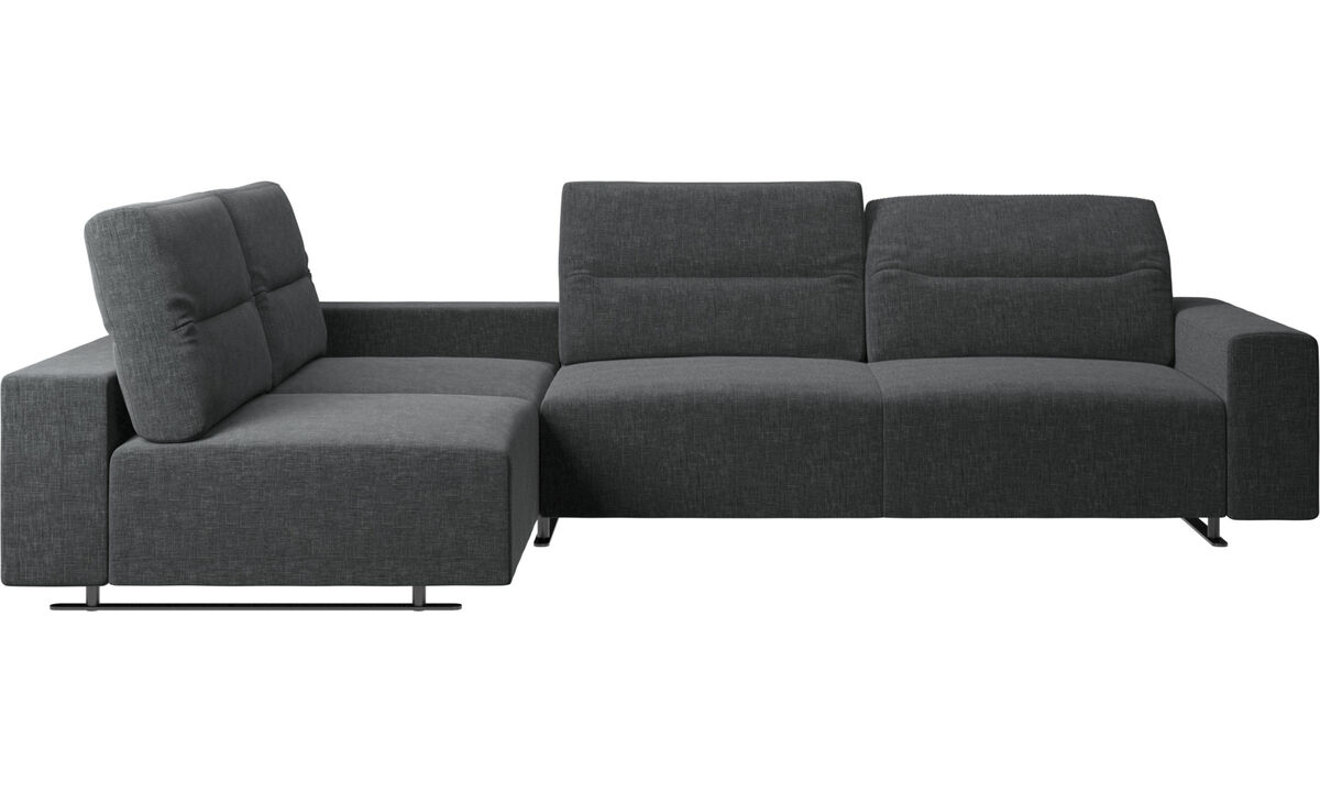 Corner sofas - Hampton corner sofa with adjustable back and storage on left side - Gray - Fabric