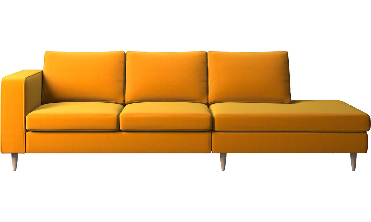Sofas with open end - Indivi divano con lounge - Arancio - Tessuto