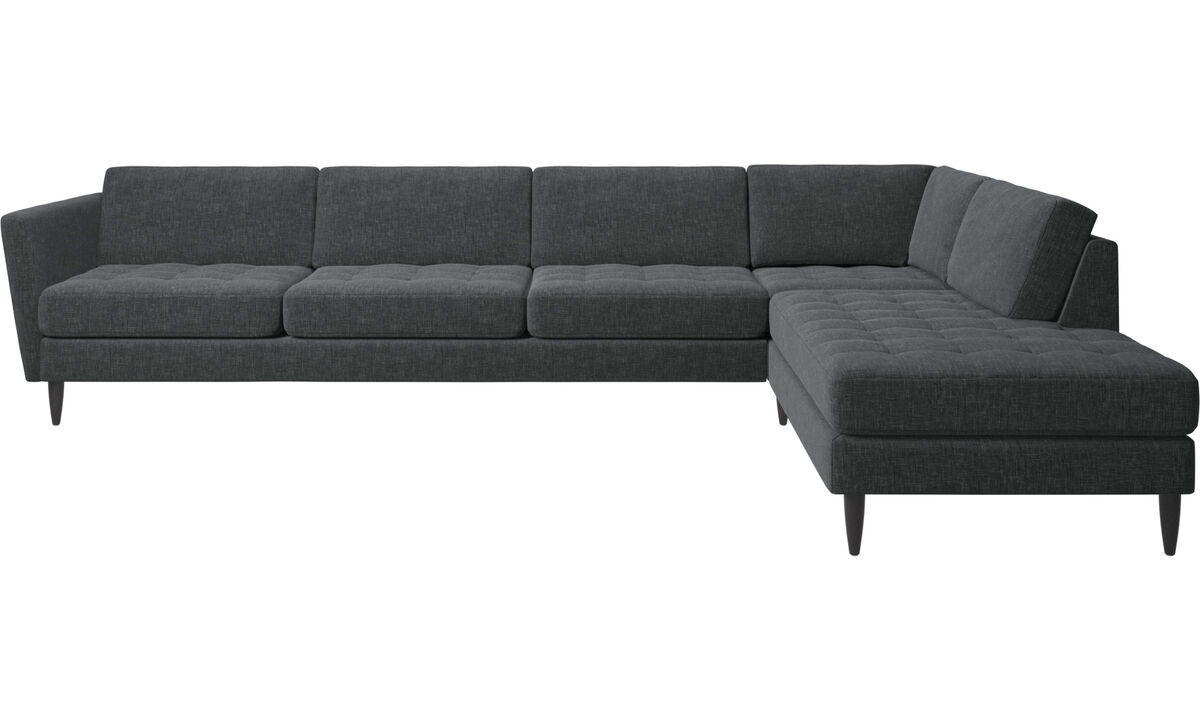 Corner sofas - Osaka corner sofa with lounging unit, tufted seat - Grey - Fabric
