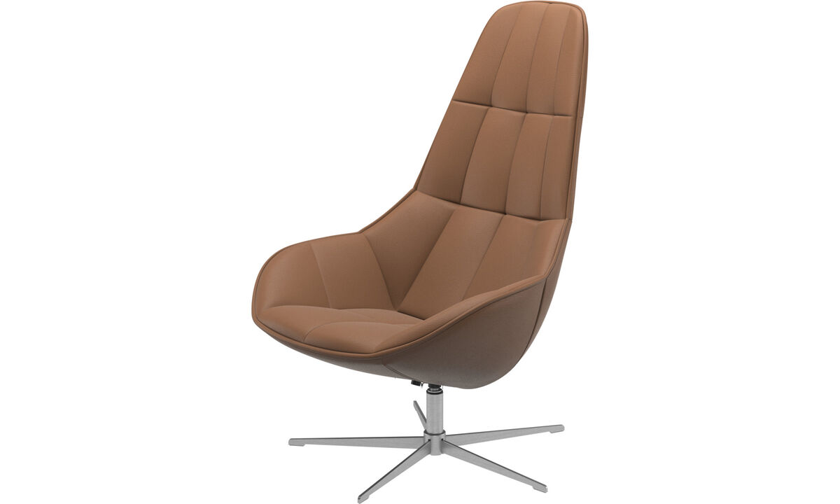Armchairs - Boston chair with swivel function. Also available with tilt function - Brown - Leather