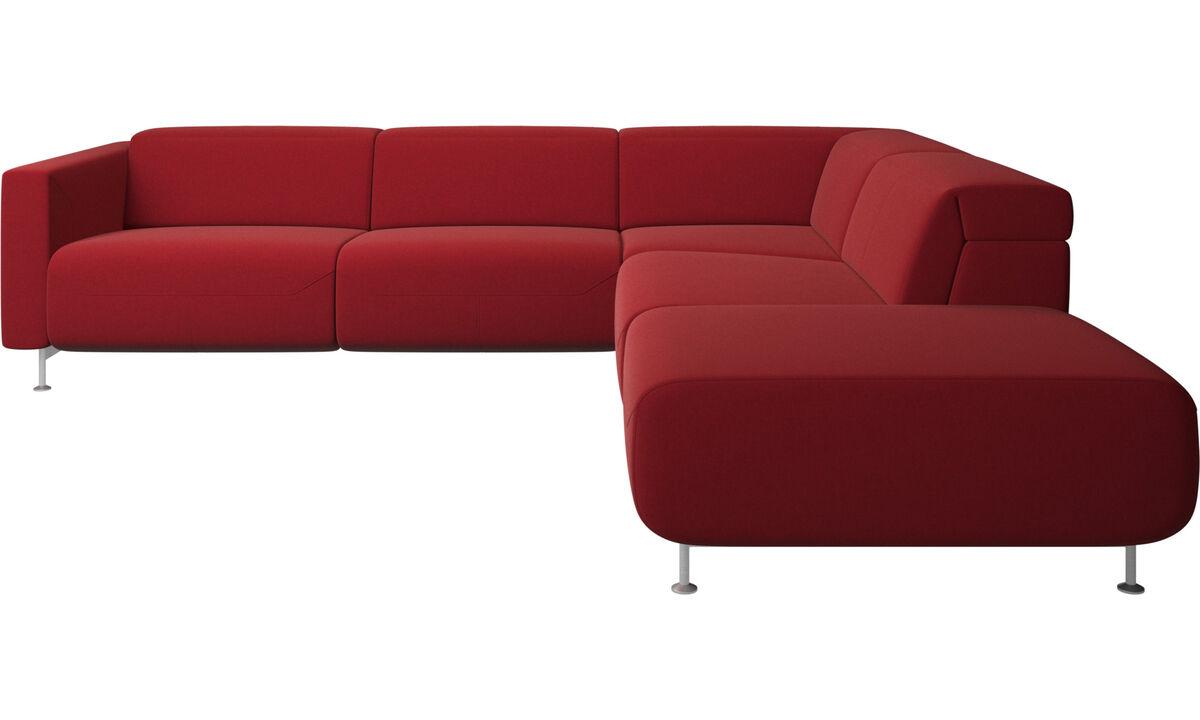 Sofás reclináveis - Parma, sofá reclinável com canto e extremidade aberta - Vermelho - Tecido