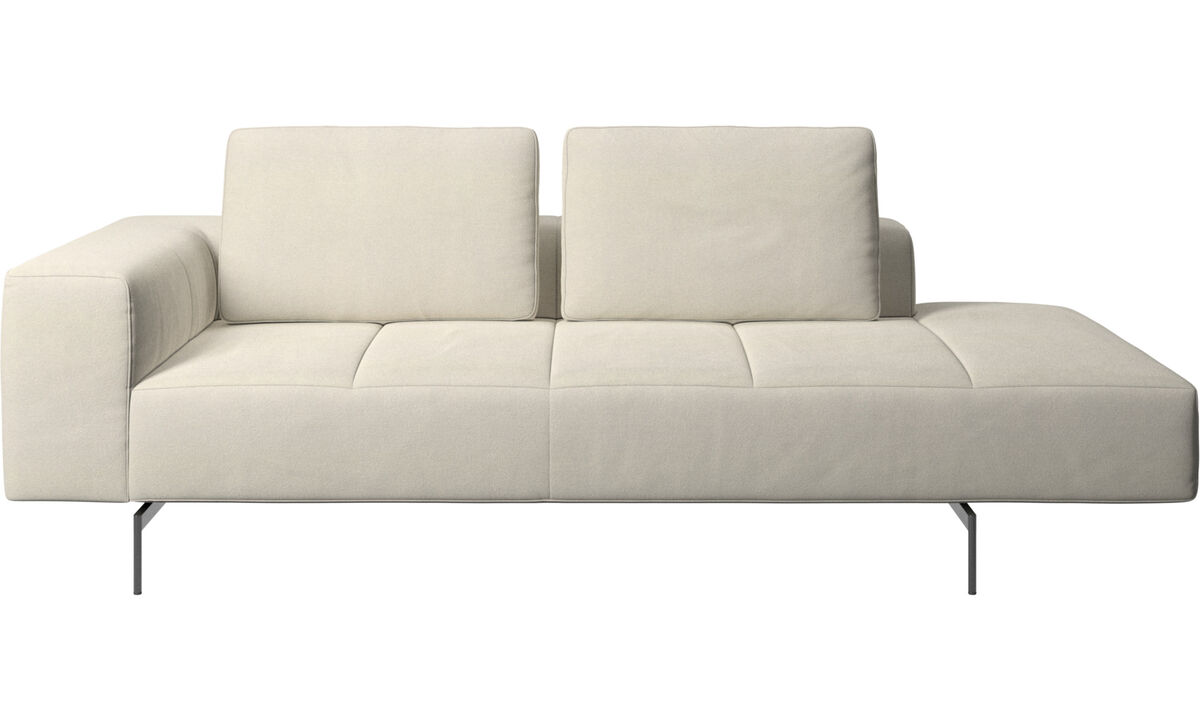Modular sofas - Amsterdam resting module for sofa, armrest left, open end right - White - Fabric