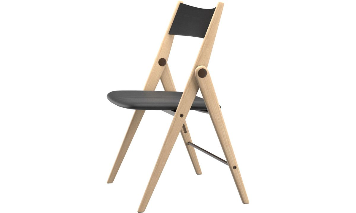 Dining chairs - Oslo folding chair - Black - Leather