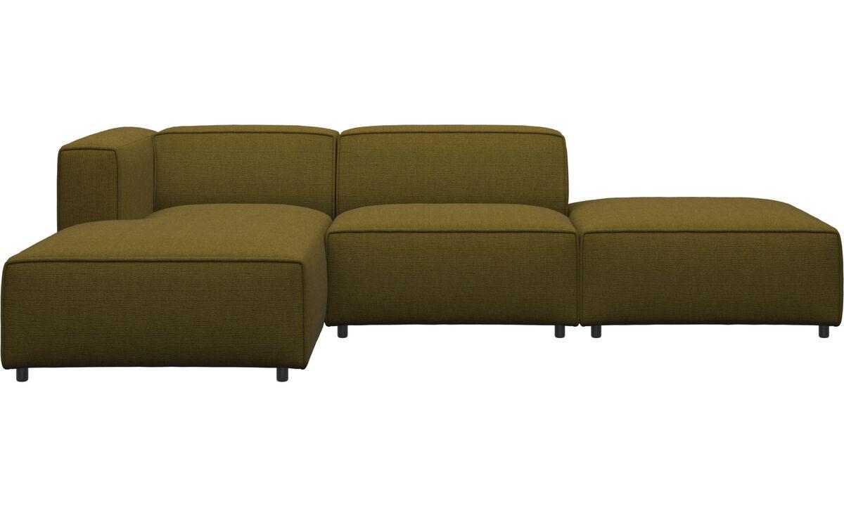 Sofaer med chaiselong - Carmo sofa med lounge- og hvilemodul - Gul - Stof