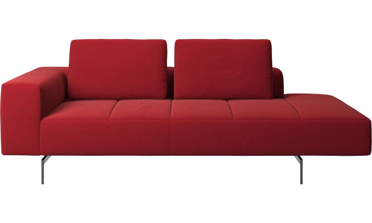 Sofás modulares - Módulo de repouso para sofá Amsterdam, apoio de braço para a esquerda, extremidade direita aberta - Vermelho - Tecido