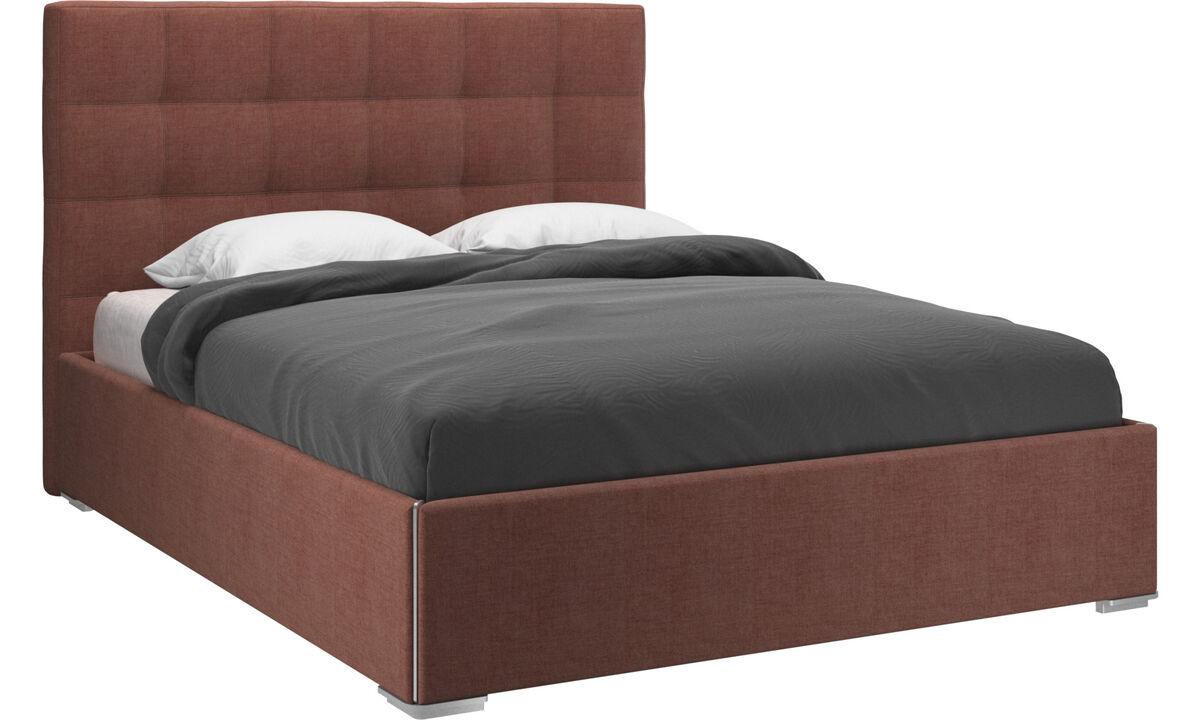 Camas novas - cama Mezzo com armazenamento, estrutura e estrado elevatório, exclui colchão - Vermelho - Tecido