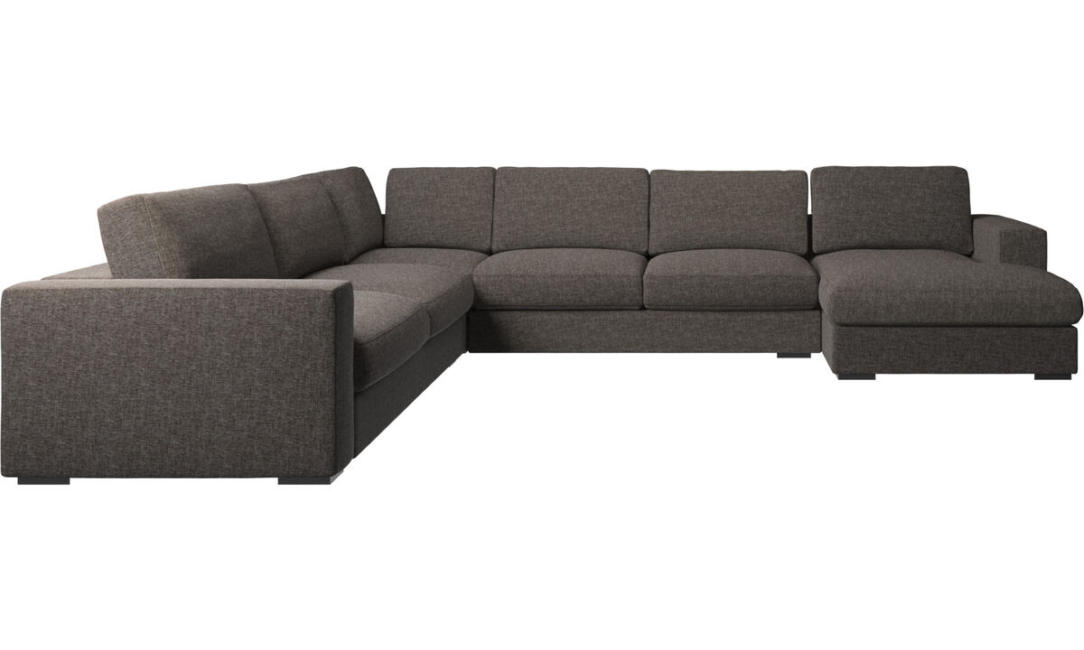 Chaise longue sofas - Cenova corner sofa with resting unit - Brown - Fabric