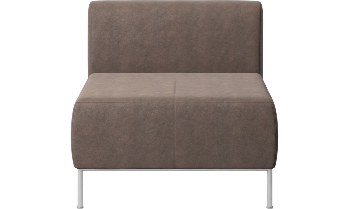 Modular sofas - Miami seat with back - Brown - Leather