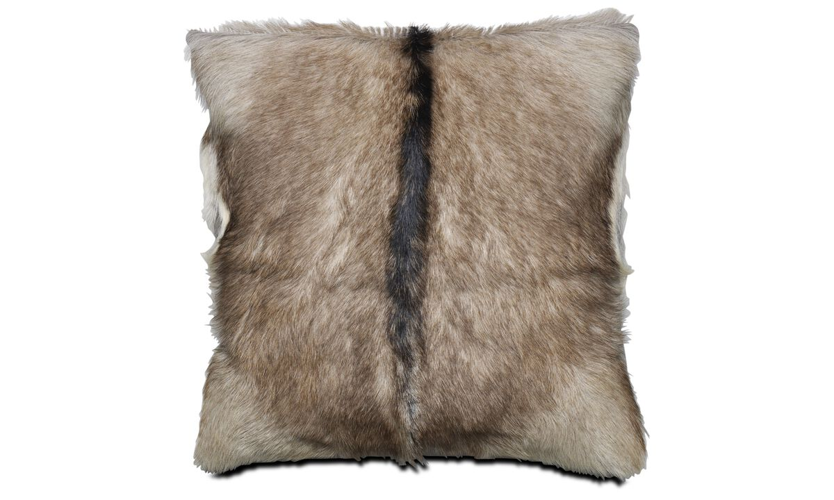 Leather cushions - goat skin cushion, 2 assorted - Brown - Leather