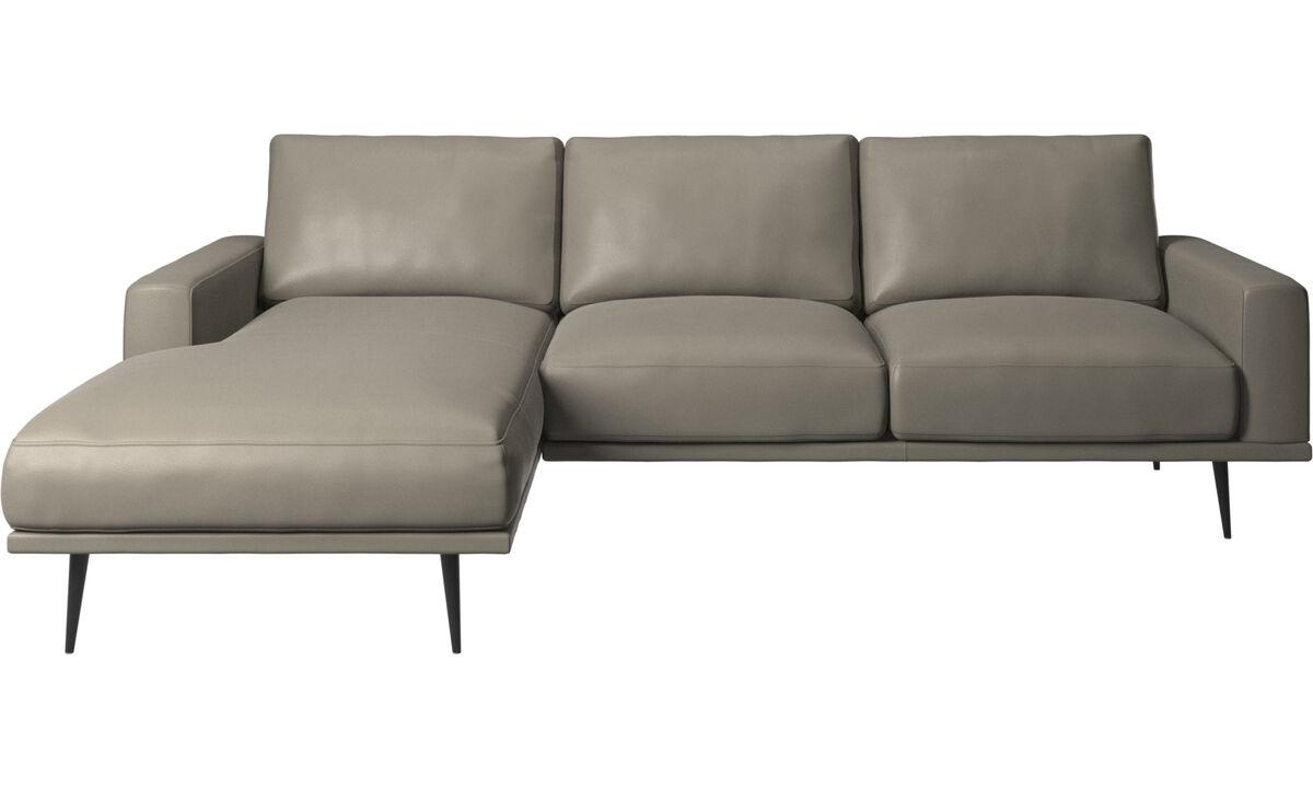 Sofás con chaise longue - sofá Carlton con módulo chaise-longue - En gris - Piel
