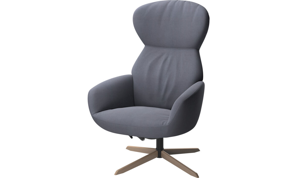 Armchairs - Athena chair with reclining back function and swivel base - Blue - Fabric
