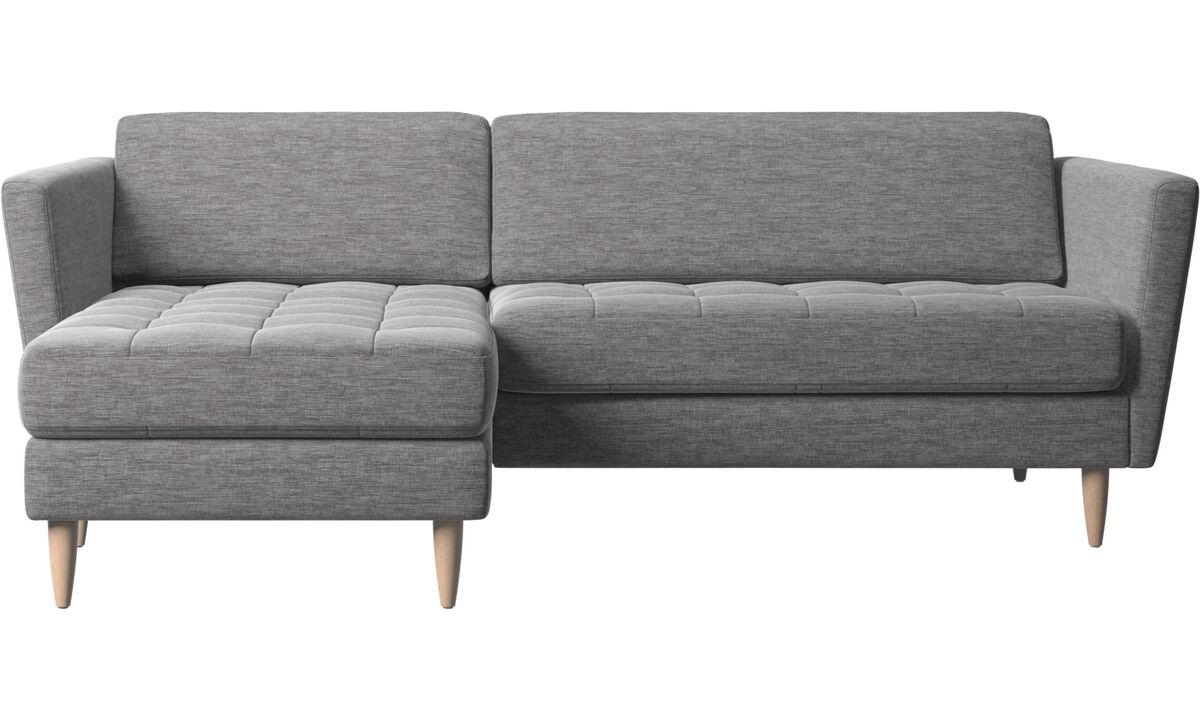 Chaise longue sofas - Osaka divano con penisola relax, seduta trapuntata - Grigio - Tessuto