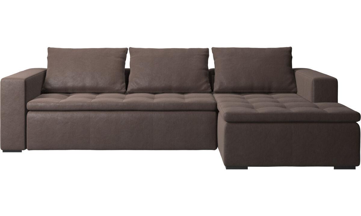 Sofás com chaise - Sofá Mezzo com módulo chaise-longue - Castanho - Pele