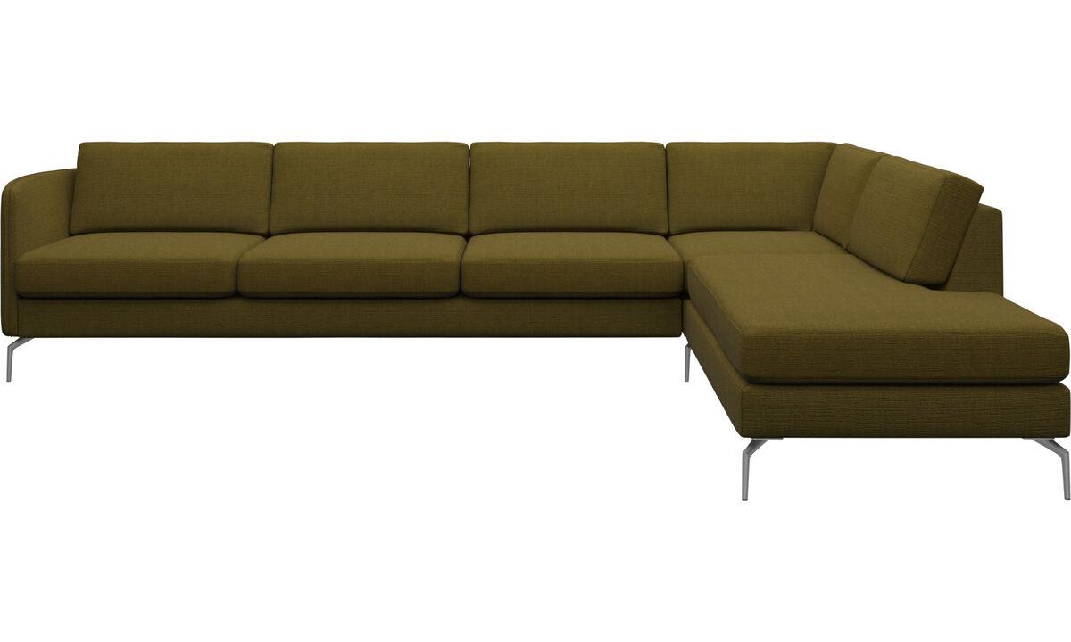 Sofas with open end - Osaka divano ad angolo con modulo relax, seduta liscia - Giallo - Tessuto