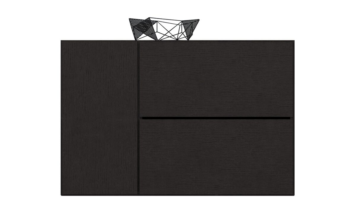 Sistemas de pared - Sistema de armario de pared Lugano con puerta abatibles hacia abajo - En negro - Roble