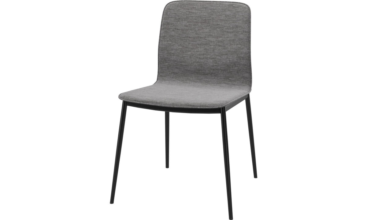 Dining chairs - Newport dinning chair with customized fabric and leather - Grey - Fabric