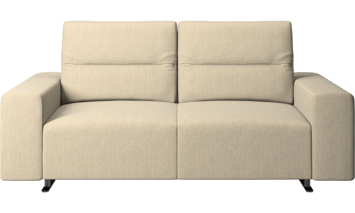 2 seater sofas - Hampton sofa with adjustable back and storage on the right side - Brown - Fabric