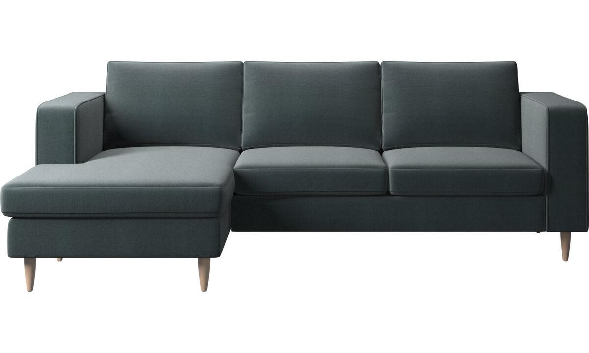 Sofás con chaise longue - sofá Indivi con módulo chaise-longue - En azul - Tela