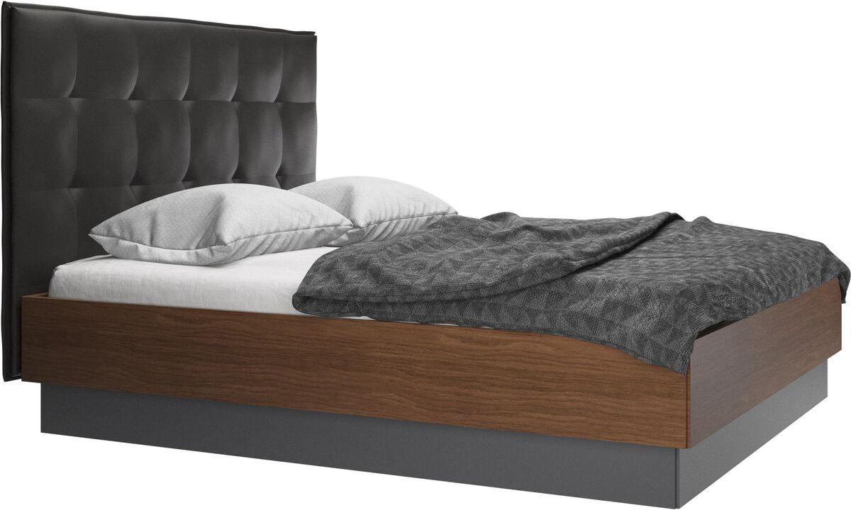 Nuevas camas - cama con canapé Lugano, estructura elevable y tablado, no incluye colchón - En negro - Piel