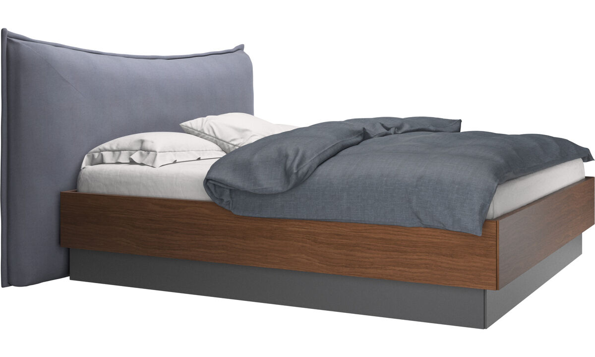Camas - Cama con canapé, estructura elevable y tablado, no incluye colchón Gent - En azul - Tela