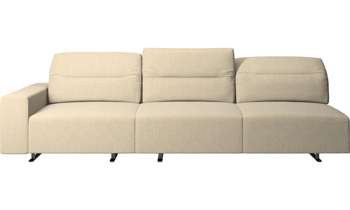 Sofás de 3 plazas - Sofá Hampton con respaldo ajustable - En marrón - Tela