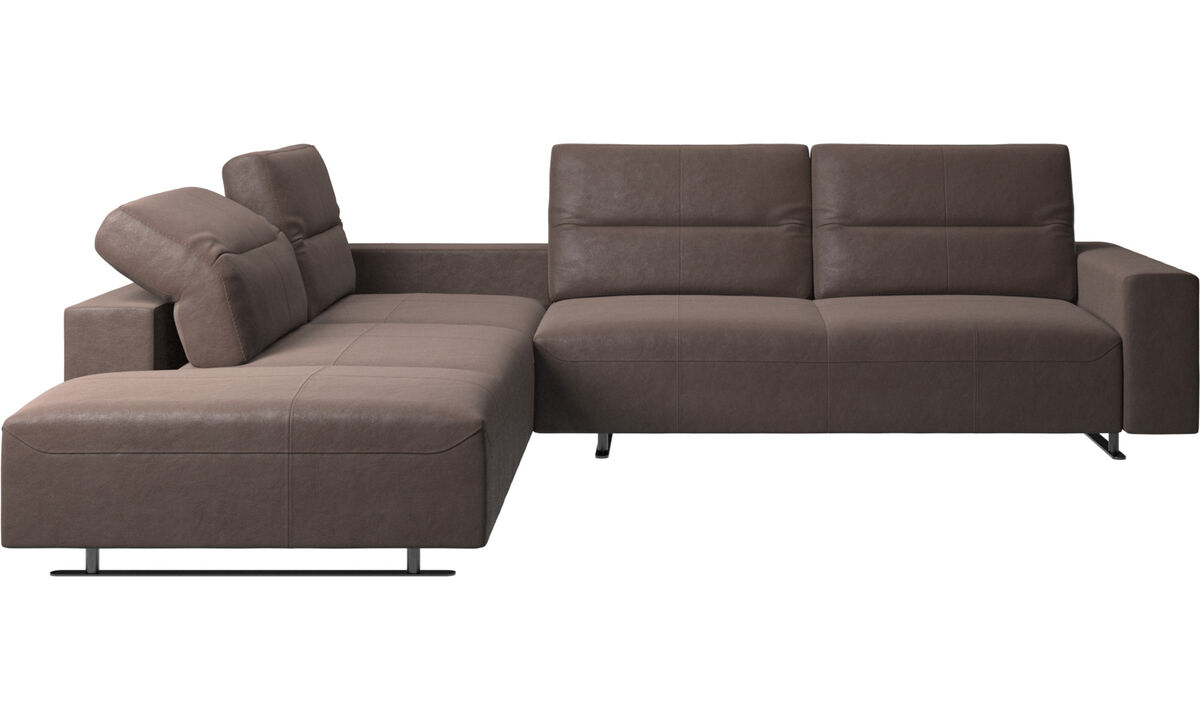 Corner sofas - Hampton corner sofa with adjustable back and storage on right side - Brown - Leather