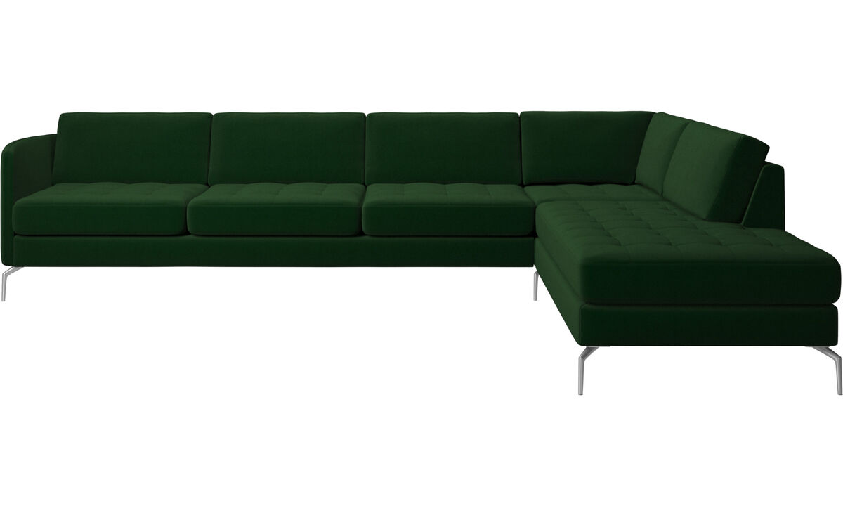 Sofas with open end - Osaka corner sofa with lounging unit, tufted seat - Green - Fabric