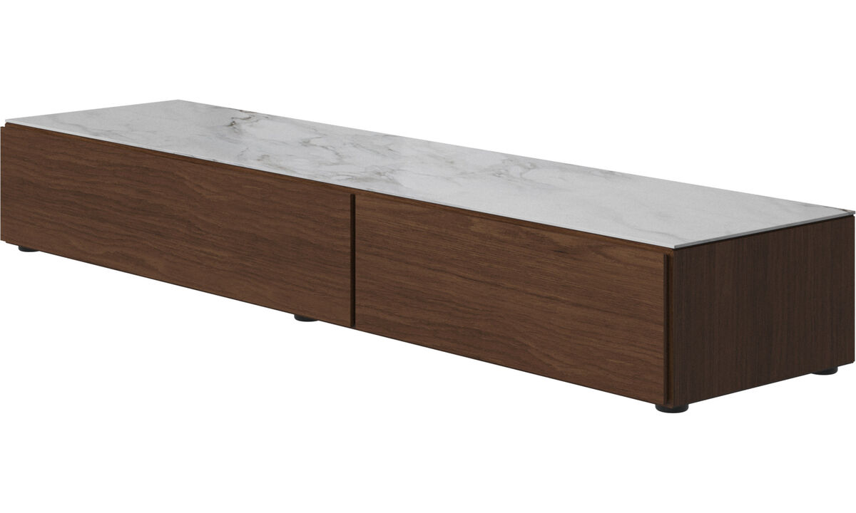 Wall systems - Lugano base cabinet with drawer, drop-down door and top-plate - White - Walnut