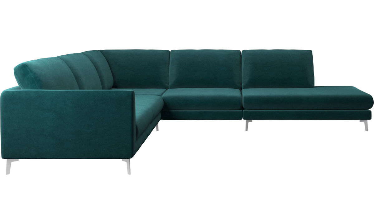 Sofas with open end - Fargo corner sofa with lounging unit - Blue - Fabric