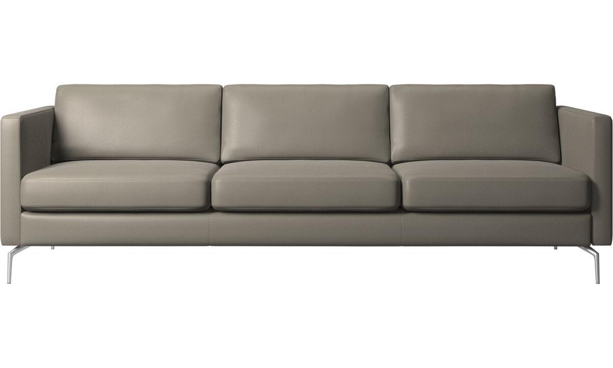 Sofás de 3 plazas - sofá Osaka, asiento regular - En gris - Piel