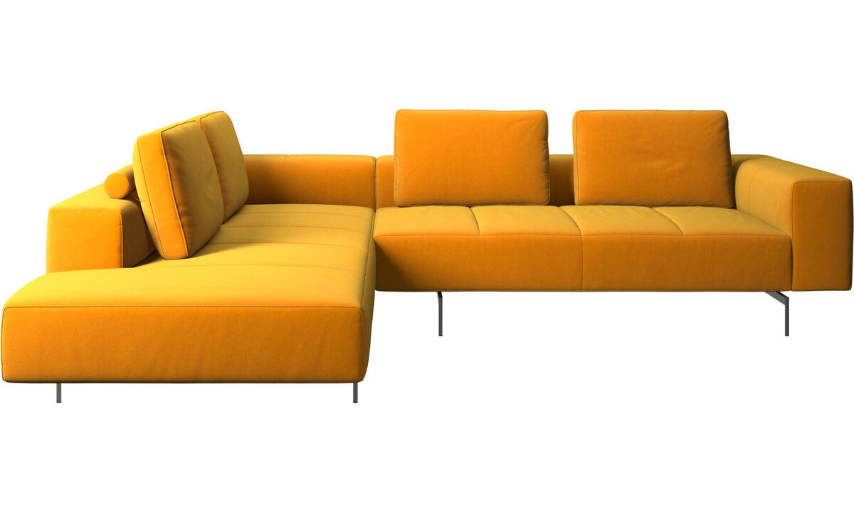 Corner & L-Shaped Sofa - Amsterdam corner sofa with lounging unit - Orange - Fabric