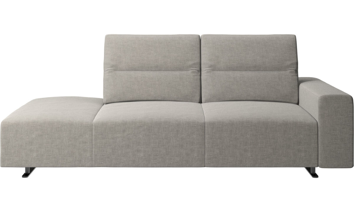 Sofas with open end - Hampton sofa with adjustable back and lounging unit left side, armrest right - Grey - Fabric