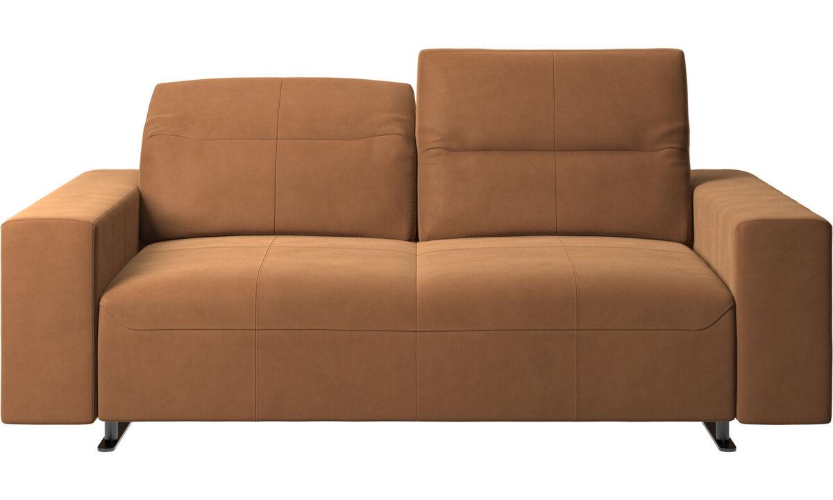 Sofás de 2 plazas - Sofá Hampton con respaldo ajustable y almacenamiento en lado derecho - En marrón - Piel