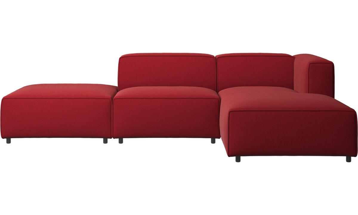 Sofás modulares - Sofá Carmo con módulo chaise-longue - Rojo - Tela