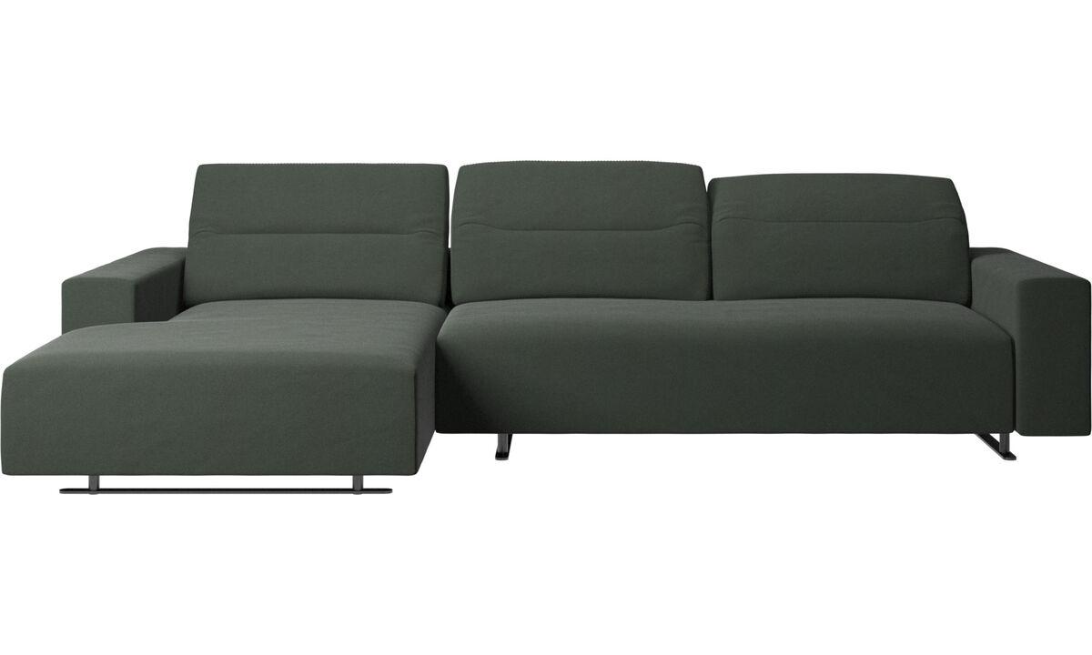 Sofás com chaise - Sofá Hampton com parte traseira ajustável, unidade de descanso e armazenamento de ambos os lados - Verde - Tecido